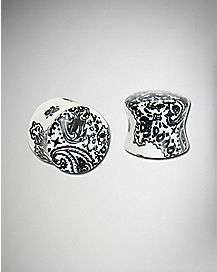 Black and White Paisley Plug 2 Pack