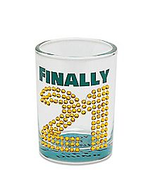 Rhinestone Finally 21 Birthday Shot Glass 4 oz