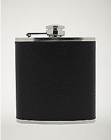Black Leather Flask - 6 oz