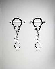 Black Cz Handcuff Nipple Rings - 14 Gauge