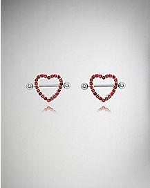 Red CZ Heart Nipple Shields - 14 Gauge