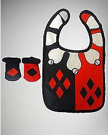 Harley Quinn Bib and Bootie Set