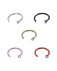 Cz Colored Hoop Nose Ring 5 Pack- 20 Gauge