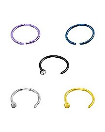 Colored CZ Nose Ring 5 Pack- 20 Gauge