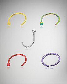 CZ Hoop & Twist Nose Ring 5 Pack- 20 Gauge