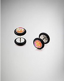 Red Opal-Effect Faux Plugs