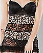 Tiered Leopard Lace Babydoll and Thong Panties Set