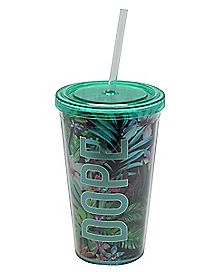 Dope Floral Print Cup with Straw - 16 oz