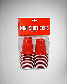 Red Mini Shot Glass Set Plastic  1.2 oz