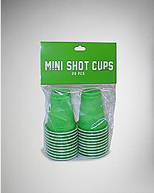 Mini Green Shot Glass Set Plastic 1.2 oz