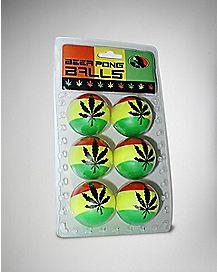 Beer Pong Balls Rasta 6 Pack
