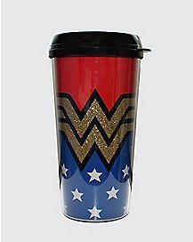 Glitter Wonder Woman Travel Mug - 16 oz.
