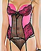 Lace Ribbed Front Corset and G-String Set