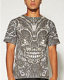 Sublimation Skull Ornament T shirt