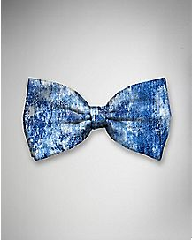 Acid Washed Blue Denim Bow Tie