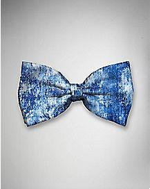 Acid Washed Blue Denim Bow Tie
