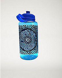 Celestial Flower Print Water Bottle 32 oz