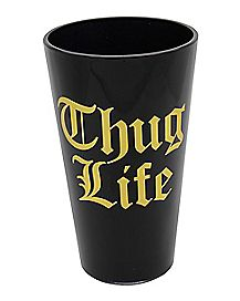 Gold Foil Thug Life Pint Glass - 16 oz