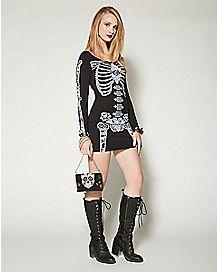 Skeleton Rose Long Sleeve Bodycon Dress