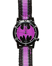 Batgirl Watch Purple and Black Woven Band - DC Comics