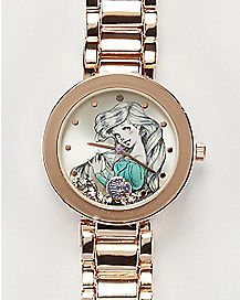 Disney Ariel Sketch Gold Bullet Band Watch