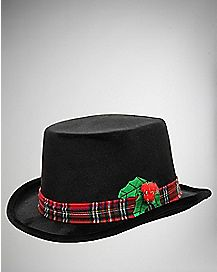 Black Fedora With Holly Leaf and Berries