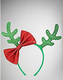 Green Glitter Antler with Red Bow Headband