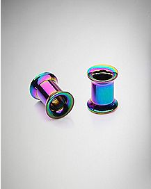 Rainbow Holographic Tunnel Plug 2 Pack