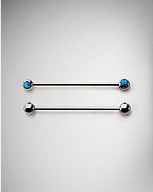 Opal-Effect Industrial Barbell 2 Pack - 14 Gauge