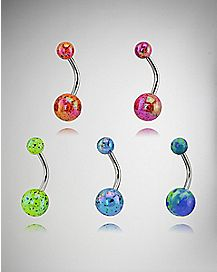 Colored Iridescent Barbell Belly Ring 5 Pack - 14 Gauge