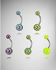 Colored Pattern Belly Ring 5 Pack - 14 Gauge