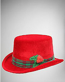 Red and Green Plaid Holiday Fedora Hat