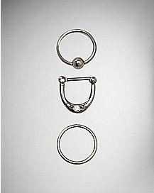 16G CZ Clicker Ring Septum 3 Pack