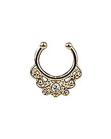 Filigree Cz Fake Septum Ring