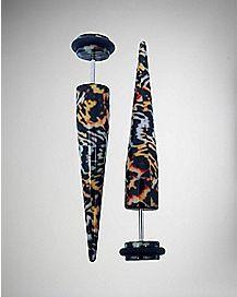Tiger Print Fake Taper Earring 2 Pack - 18 Gauge