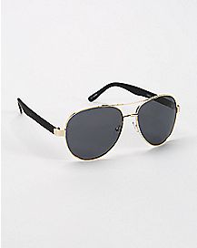 Aviator Sunglasses- Black and Gold