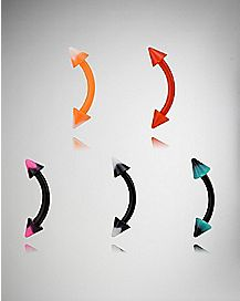 Colored Cone Curved Barbell Eyebrow Ring 5 Pack - 16 Gauge