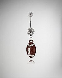 Football Dangle Curved Barbell - 14 Gauge