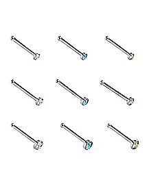 Clear CZ Stud Nose Rings 9 Pack- 20 Gauge