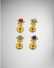 Colored CZ Lip Ring 4 Pack - 14 Gauge