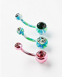 Colored Cz Belly Ring 3 Pack - 14 Gauge
