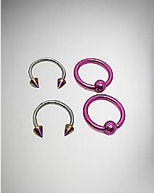 Pink Captive Hoop Horseshoe Ring 4 Pack - 14 Gauge