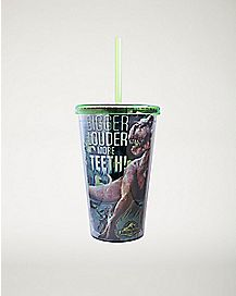 Bigger Louder More Teeth Jurassic World Cup With Straw 16oz