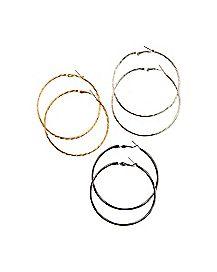 Black Hoop Earrings 3 Pack