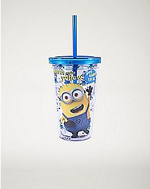 Minions Cup With Straw And Ice Cubes - 16 oz.