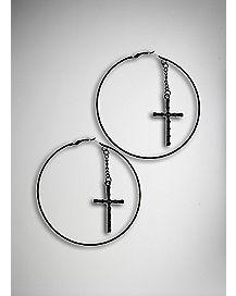 Black CZ Dangle Cross Hoop Earrings