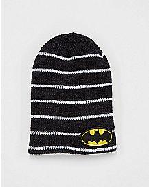 Black and White Batman Logo Beanie