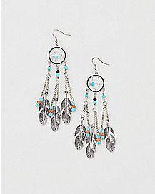 Blue Dream Catcher Dangle Earrings