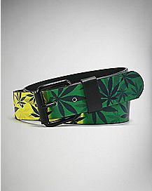 Rasta Pot Leaf Belt