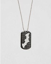 Black Arkham Batman Dog Tag Necklace